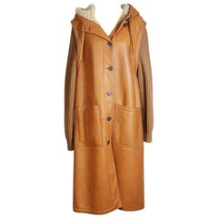 Hermes Leather Coat with Knit Wool Sleeves and Shearling Lining