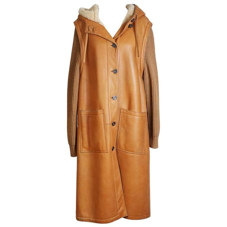 Hermes Leather Coat with Knit Wool Sleeves and Shearling Lining 1