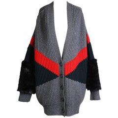 Stella McCartney Oversized Wool Cardigan with Faux Fur Cuffs