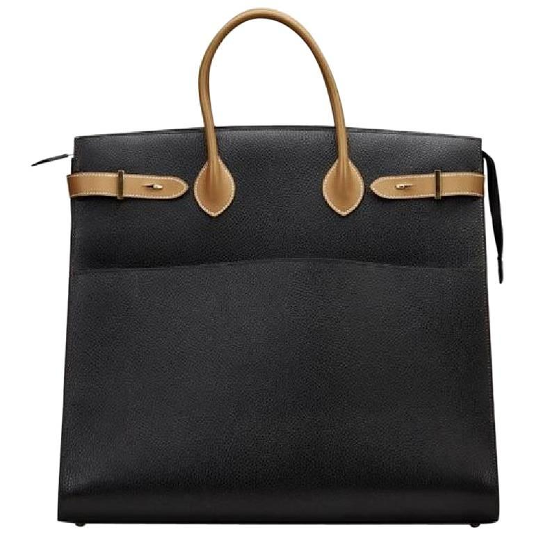 Hermes Black Cognac Leather Gold Men s Large Carryall Weekender Travel Tote  Bag at 1stdibs 2a7bb8e66abf0