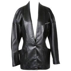 Alaia Dark Green Leather Jacket circa 1990s