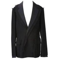 Yohji Yamamoto Black Wool Blazer with Deconstructive Fabric Layering