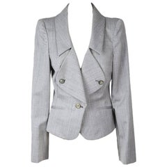 Alexander McQueen Grey Pin Striped Blazer