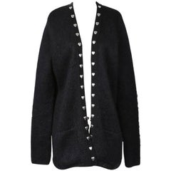 Saint Laurent Black Mohair Cardigan with Silver Metal Hearts