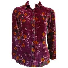 1960s Plum Floral Crushed Velvet Button Blouse