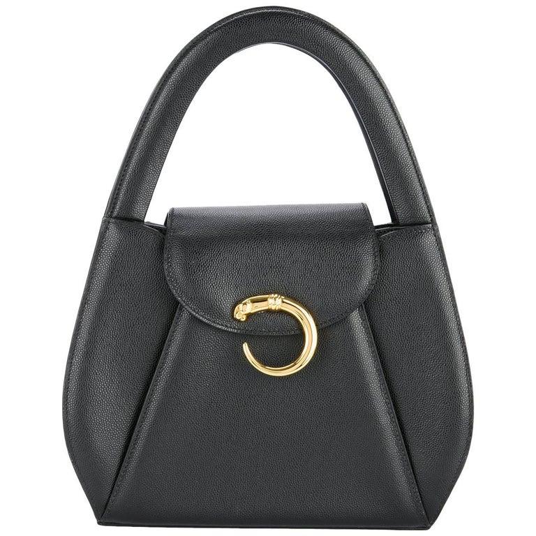 Cartier Black Leather Gold Emblem Top Handle Satchel Evening Bag in Box