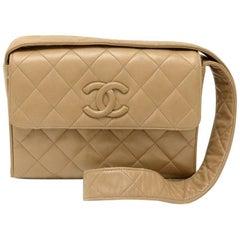 """Vintage Chanel 9"""" Flap Brown Quilted Leather Shoulder Bag"""
