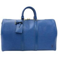 Vintage Louis Vuitton Keepall 45 Blue Epi Leather Duffle Travel Bag
