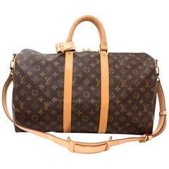 Louis Vuitton Keepall 45 Bandouliere Monogram Canvas Duffle Travel Bag + Strap