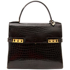 Delvaux Tempete PM Croc Brown