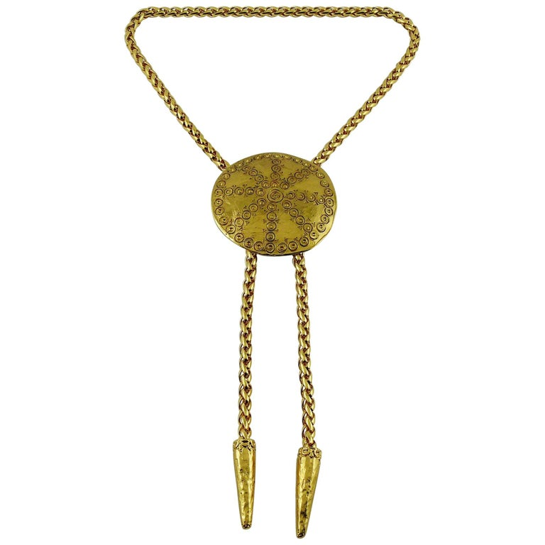 Yves Saint Laurent YSL Vintage Gold Toned Ethnic Disc Lariat Necklace For Sale