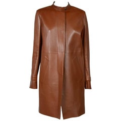 PRADA Smooth Trench Coat in Tawny Color Lamb Leather Size 42IT