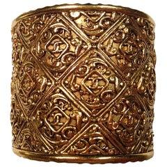 CHANEL Vintage Gilded Metal Cuff Bracelet