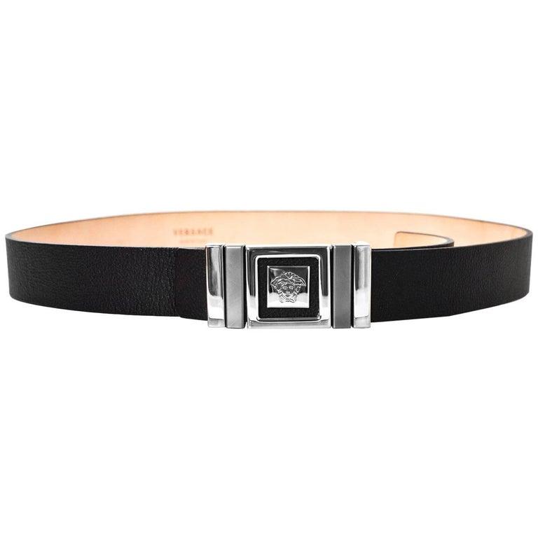Versace Unisex Black Leather Medusa Head Belt Sz 90 NEW