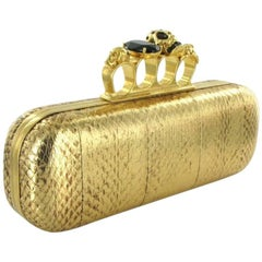 ALEXANDER Mc QUEEN Clutch in Gold Python