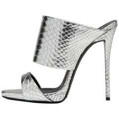 Giuseppe Zanotti New Sold Out Silver Slide In Evening High Heels Sandals in Box