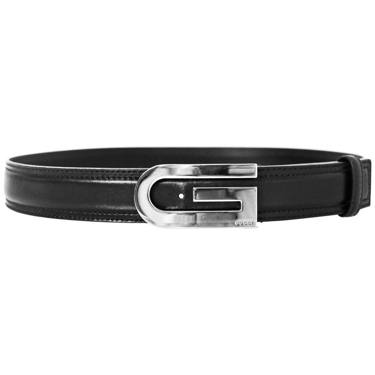 4594c58a2 Gucci Unisex Black Leather Belt with XL G Buckle Sz 85 at 1stdibs