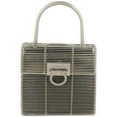 SALVATORE FERRAGAMO Cage HandBag in Silver Metal