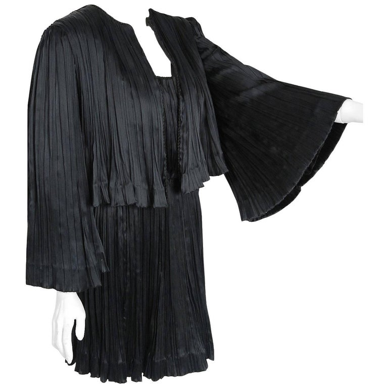 1977 Chanel Black Fortuny Pleated Silk Mini Cocktail Dress & Bell-Sleeve Jacket  1