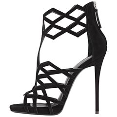 Giuseppe Zanotti New Black Suede Cut Out Evening Sandals Heels in Box