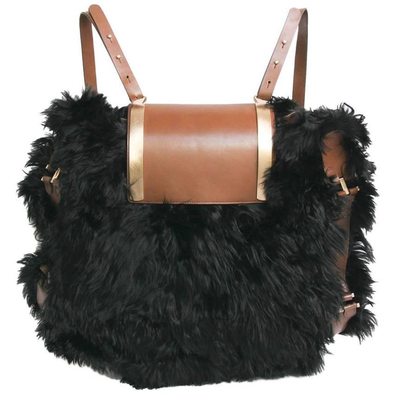 MARNI Backpack in Black fur and Natural Leather