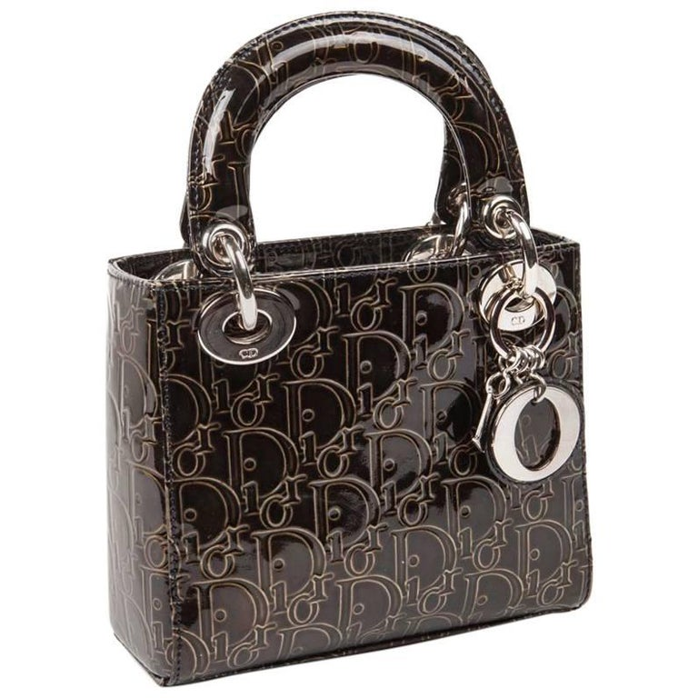 LADY DIOR Mini Handbag in Brown Patent Leather with DIOR Letters Printed For Sale