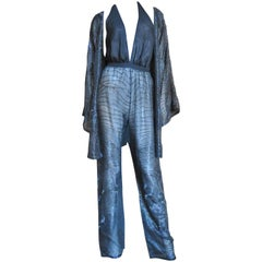 1970s Halston Plunging Beaded Jumpsuit & Draped Jacket
