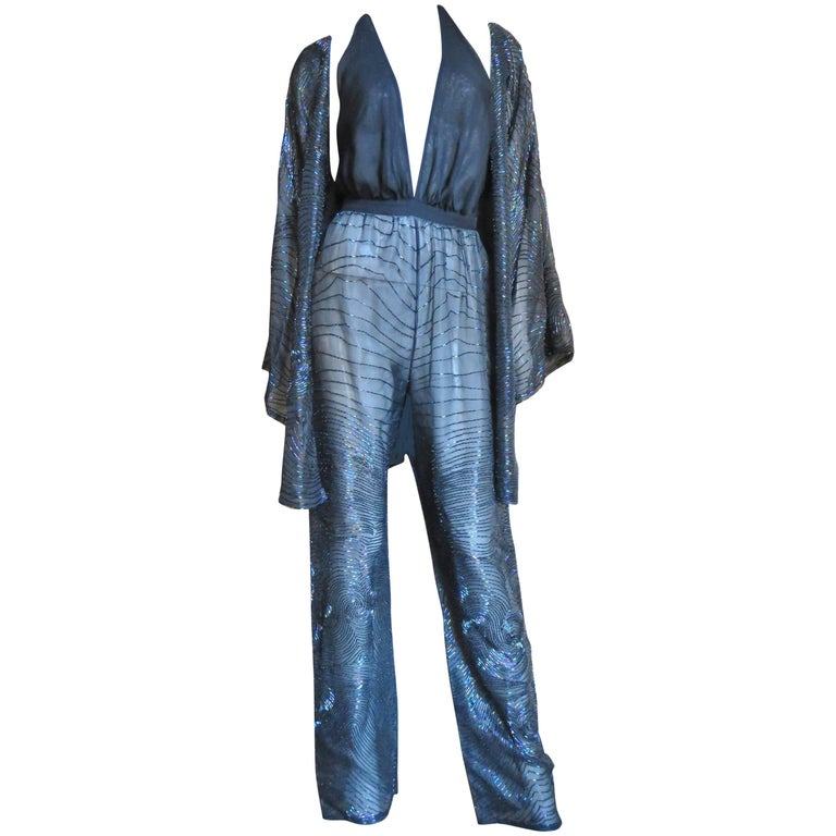 Halston 1970s Plunging Beaded Jumpsuit & Draped Jacket 1