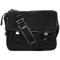 Prada Black Tessuto Nylon Messenger/Laptop Travel Bag