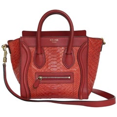 CELINE 'Nano' Bag in Red Python and Leather.