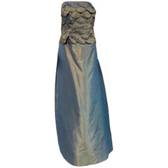 Remarkable Catherine Regehr Strapless Teal Luminescent Scalloped Bodice Gown
