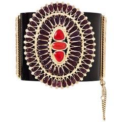 Chanel Black and Red Paris/Dallas 2014 Cuff with Box