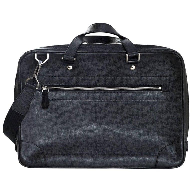 bb0d9dd882ba Louis Vuitton Black Taiga Leather Briefcase Laptop Computer Bag For Sale