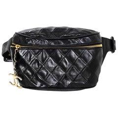 Chanel Vintage Black Quilted Leather Belt/Waist Bag w/ CC