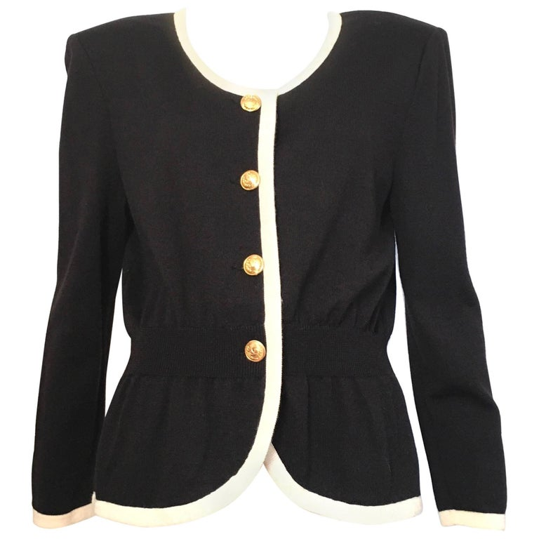Valentino Black Wool Knit Cardigan with Gold V Buttons Size 10 / 12.