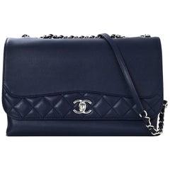 Chanel 2016 Blue Smooth & Quilted Leather Shoulder Bag