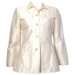 Oscar de la Renta White Silk Evening Jacket