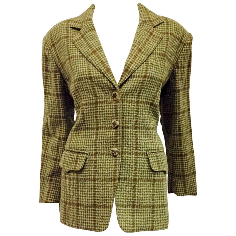 Historic Hermès Vintage Houndstooth Green & Brown Riding Blazer w/ Elbow Patches