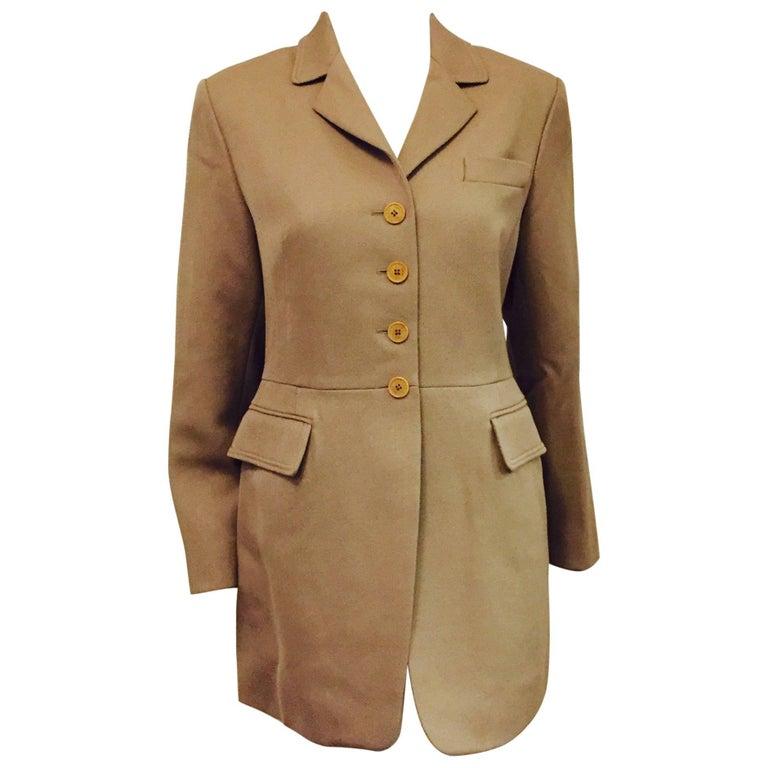 Vintage Hermes Taupe 100% Wool Riding Jacket