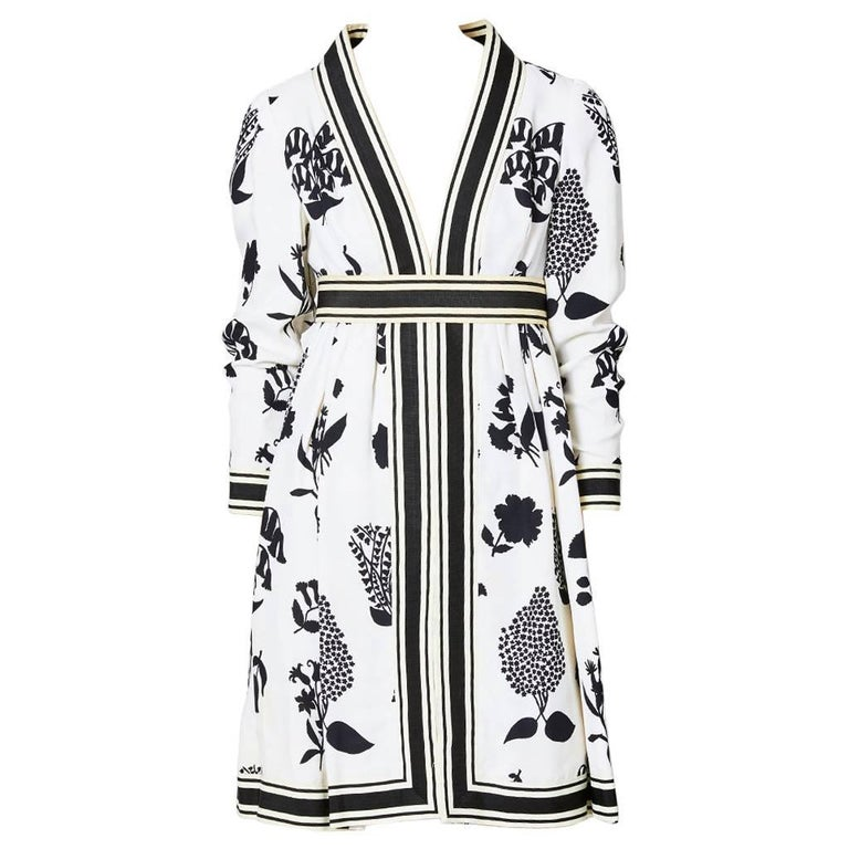 Geoffrey Beene Graphic Floral Pattern Day Dress For Sale