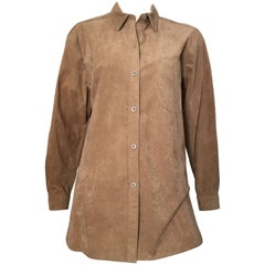 Bill Blass Brown Ultra Suede Button Up Blouse Size 12.