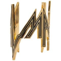 "Balmain New ""BALMAIN"" Gold Black Logo Evening Cuff Bracelet"