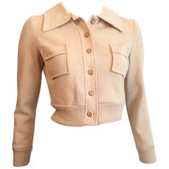 Neiman Marcus Tan Cropped Knit Jacket, 1960s