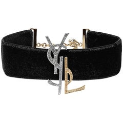 Yves Saint Laurent New Velvet Gold Silver Crystal Charm Evening Choker Necklace