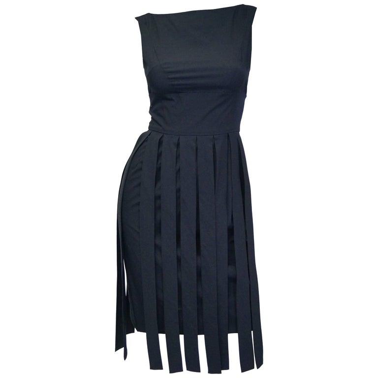 """1960s Jaques Heim Pleat Strip Skirt """"car wash"""" Dress"""