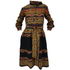 Oscar de la Renta Ethnic Print Wool Dress, 1960s