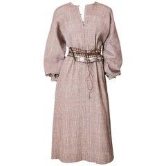 Geoffrey Beene Crinkled Wool Belted Caftan