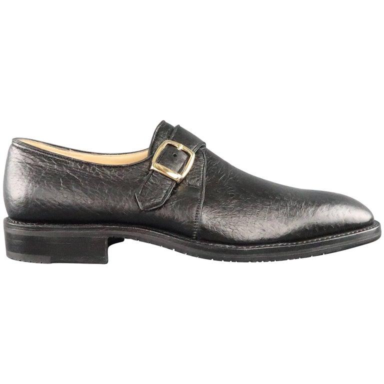 Men's GRAVATI Size 9.5 Black Textured Leather Monk Strap Loafers