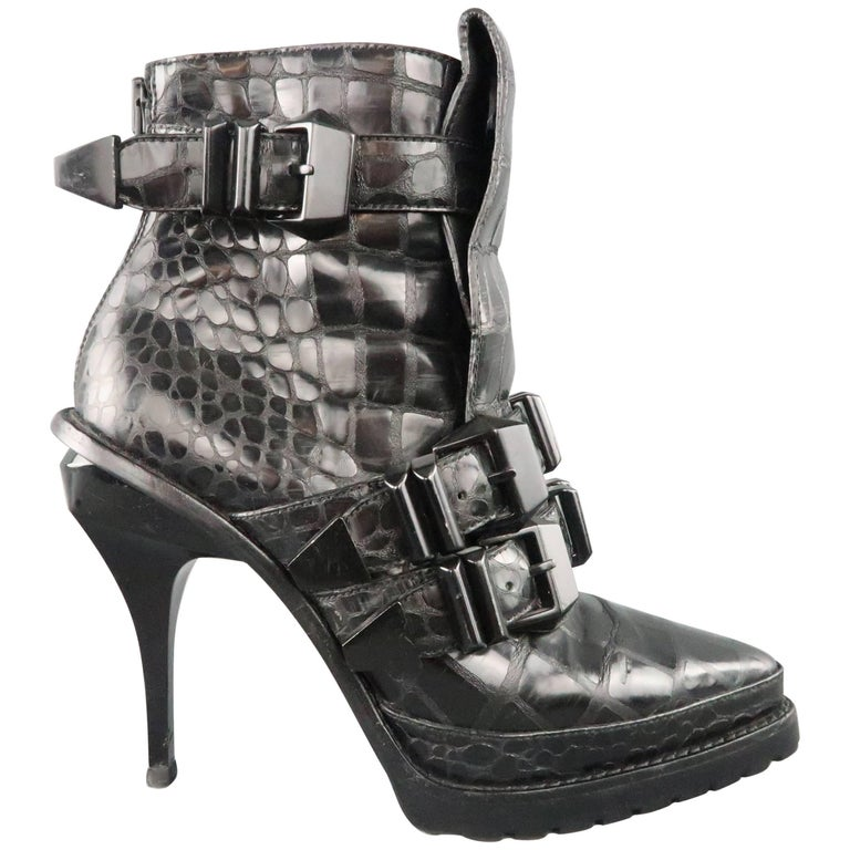 8344c687acfe ALEXANDER WANG Size 8 Black Alligator Embossed Western Buckle Boots For Sale