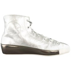 Y-3 by Yohji Yamamoto Size 10.5 Metallic Silver Leather High Top Sneakers